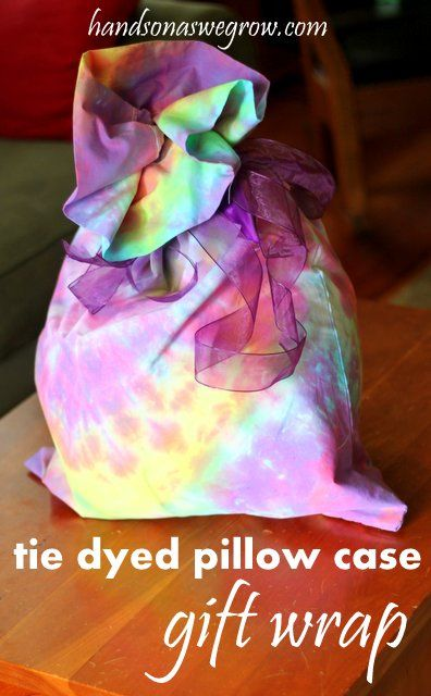 Tie Dyed Pillowcase - for gift wrap! Love this idea!