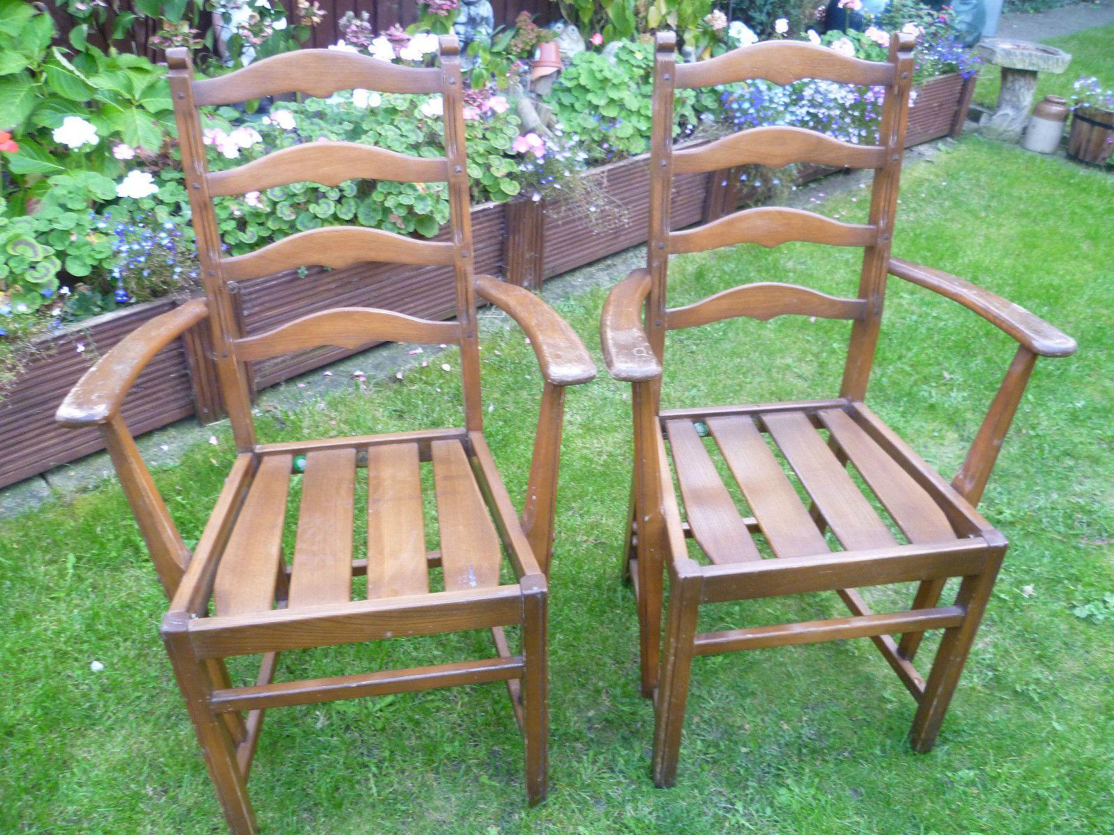 Details About Reduced 2 Vintage Ercol Carver Ladder Back