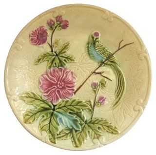 French Majolica Parakeet Wall Plate