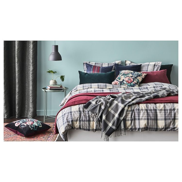 Smalruta Duvet Cover And Pillowcase S Gray Check Full Queen Double Queen Ikea In 2021 Duvet Covers Boys Duvet Cover Duvet Covers Twin