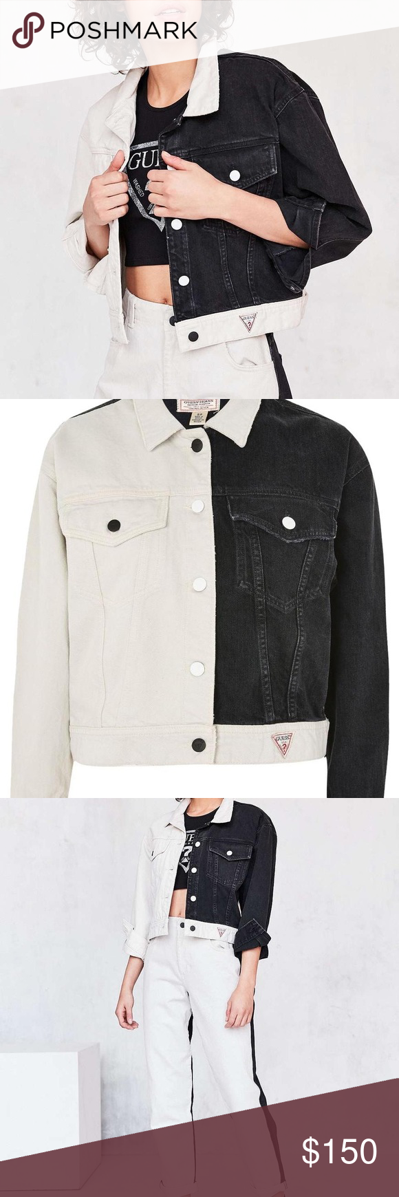 Guess Black And White Denim Jacket Limited Edition Black And White Block Color Never Worn Guess Jackets Coats Jean J White Denim Jacket White Denim Jackets [ 1740 x 580 Pixel ]
