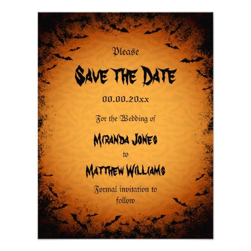 Halloween Save The Date Invitation With Bats Save The Date