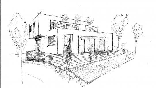 Maison Architecte Maison Dessin Dessin Maison 3d Croquis Maison