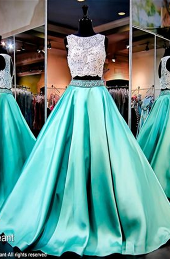 2acba9c10d416 Mint Green Prom Dresses, 2 Piece Prom Gowns,2 piece Prom Dresses,Lace Prom  Dresses,Mermaid Prom Gown,Prom Dress With Lace For Teens