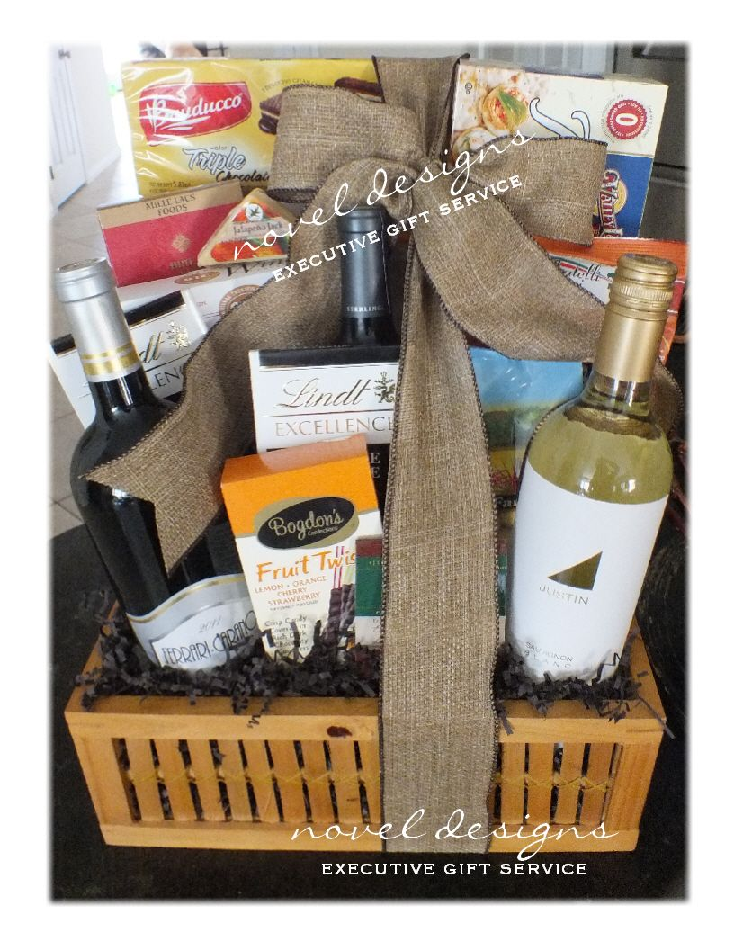 Wine Chocolate Cheese Cracker Gift Basket