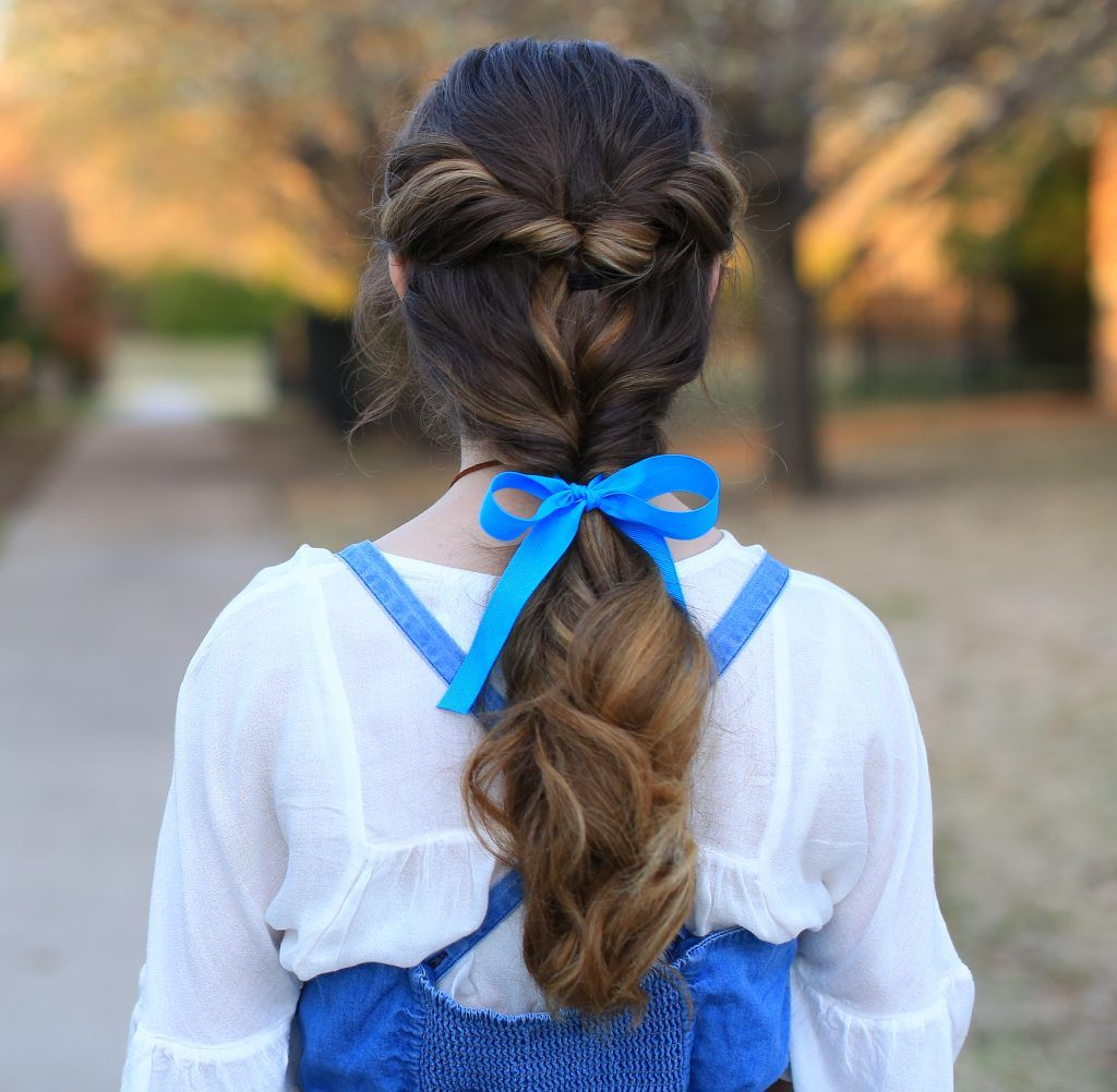 Belle ponytail beauty u the beast cute girls hairstyles