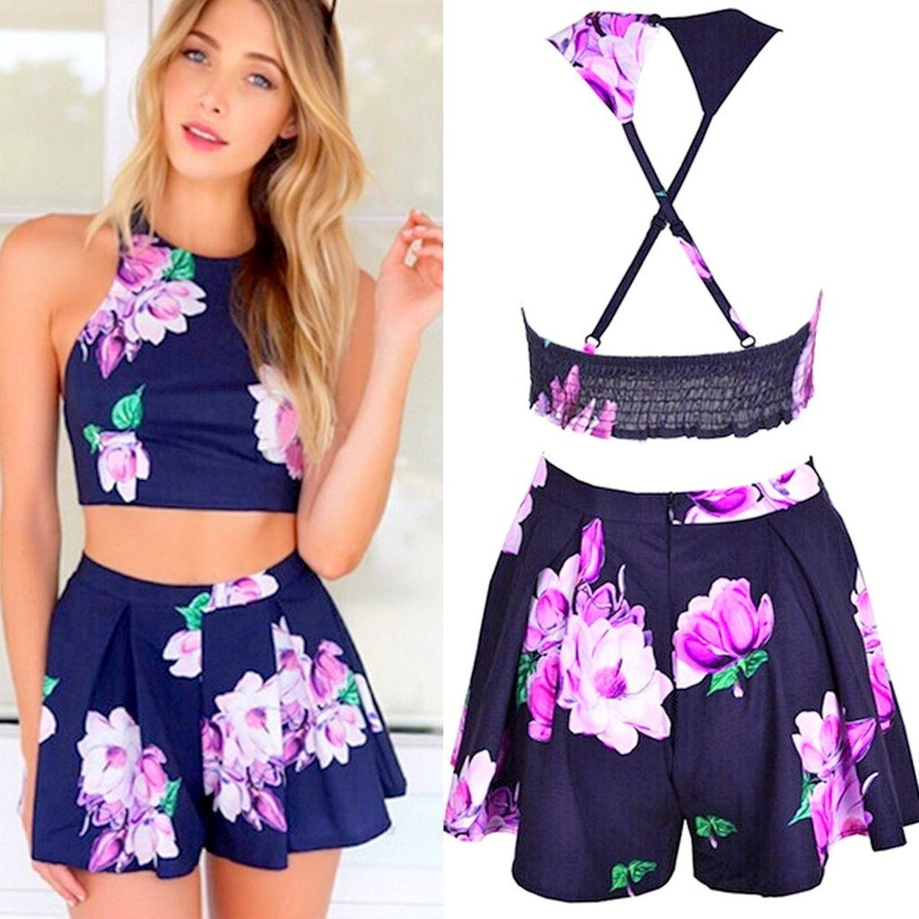 1b250df082ba3e Stylish Summer Floral Crop Top & Shorts Set - 1 | sites for clothes ...