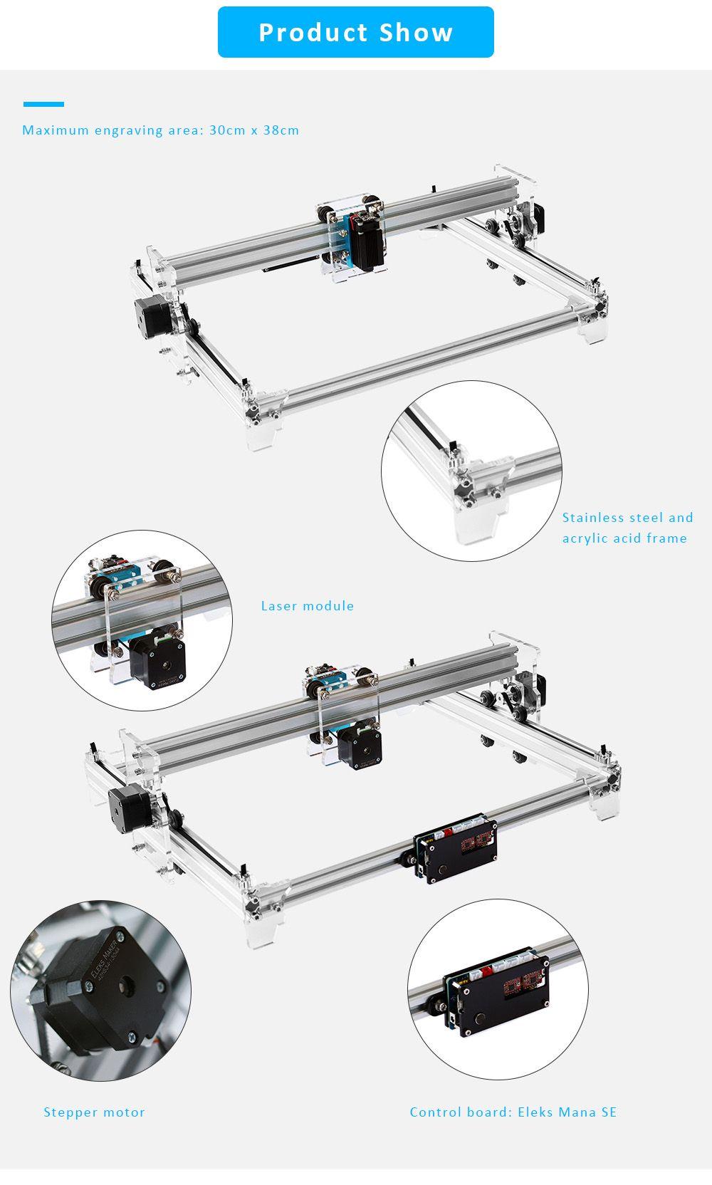 A3 pro violet laser engraver silver 5500mw us plug 3d