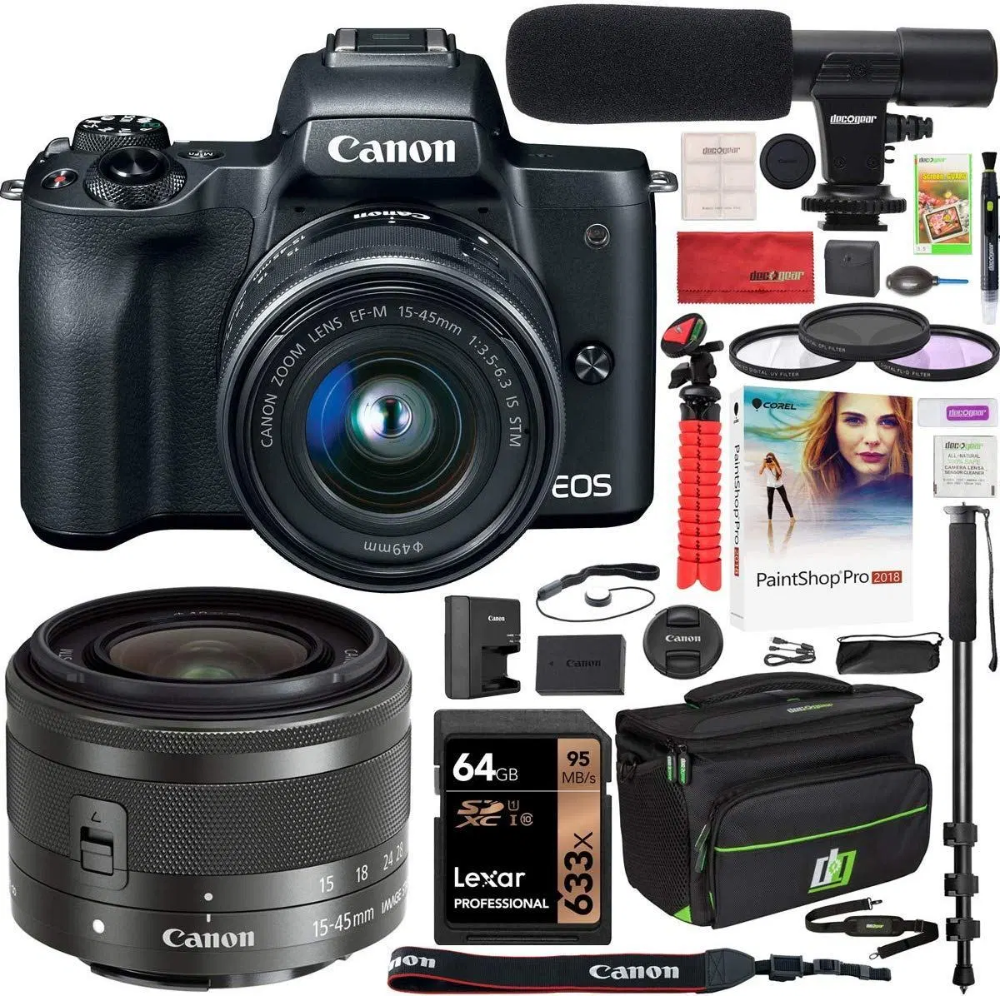 Canon Eos M50 Mirrorless Camera With 4k Video And Lens Kit Mirrorless Camera Canon Camera Tips Canon Eos