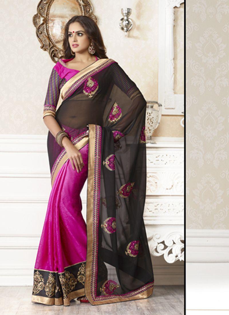 Black colour saree images black u pink wholesale saree visit wholesalesalwar