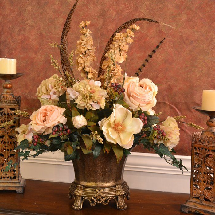 Elegant Silk Flower Centerpiece With Feathers