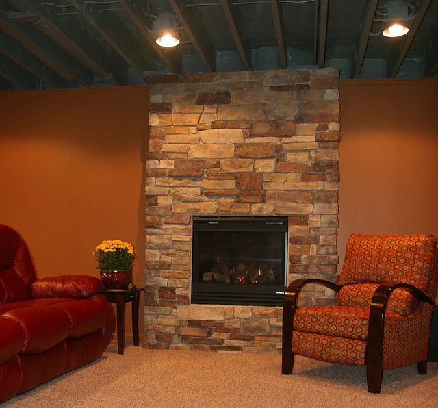 basement ceiling lighting. This Basement Features An Exposed Ceiling W/ Can Lights \u0026 Beautiful Fireplace. Lighting