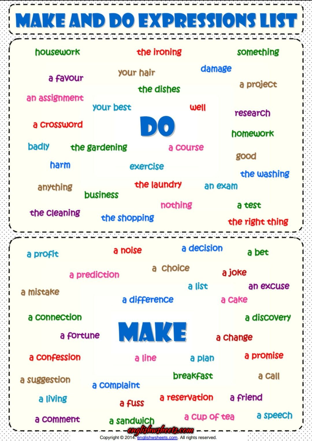 Make And Do Expressions List Esl Grammar Handout With