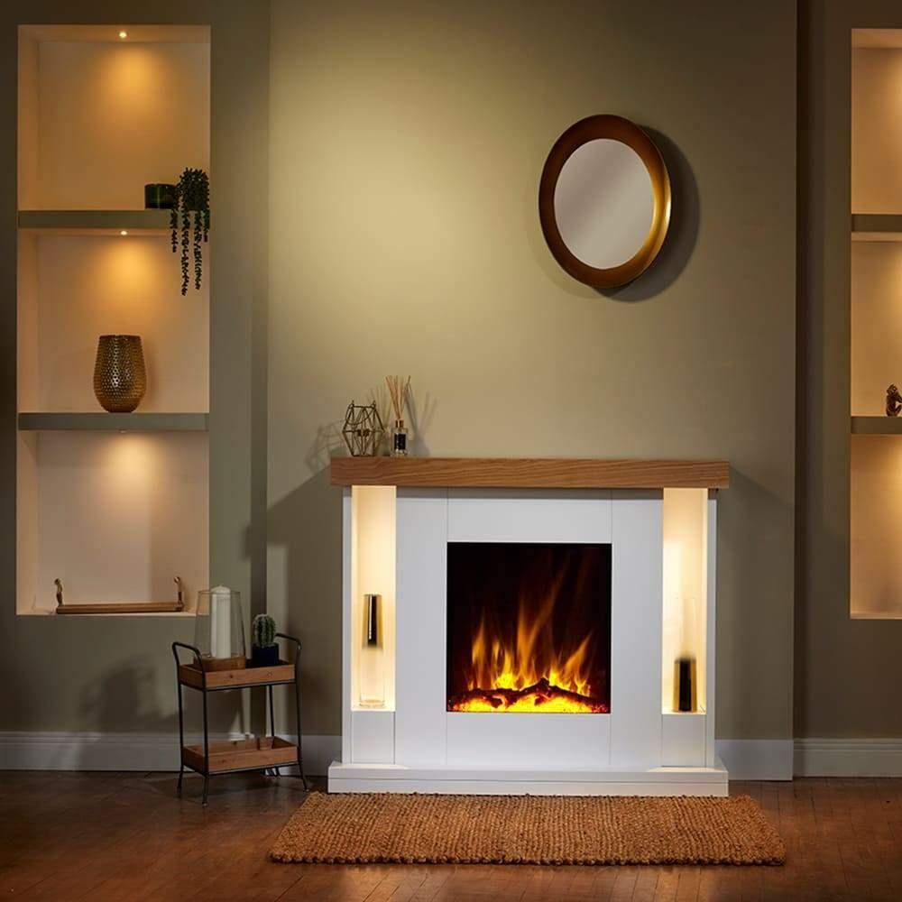 Flametek Williamsburg 54 Electric Fireplace Suite - Flametek White