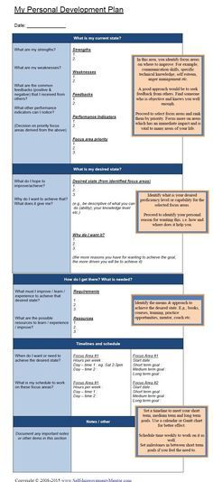 Personal Development Plan Template   Pinteres
