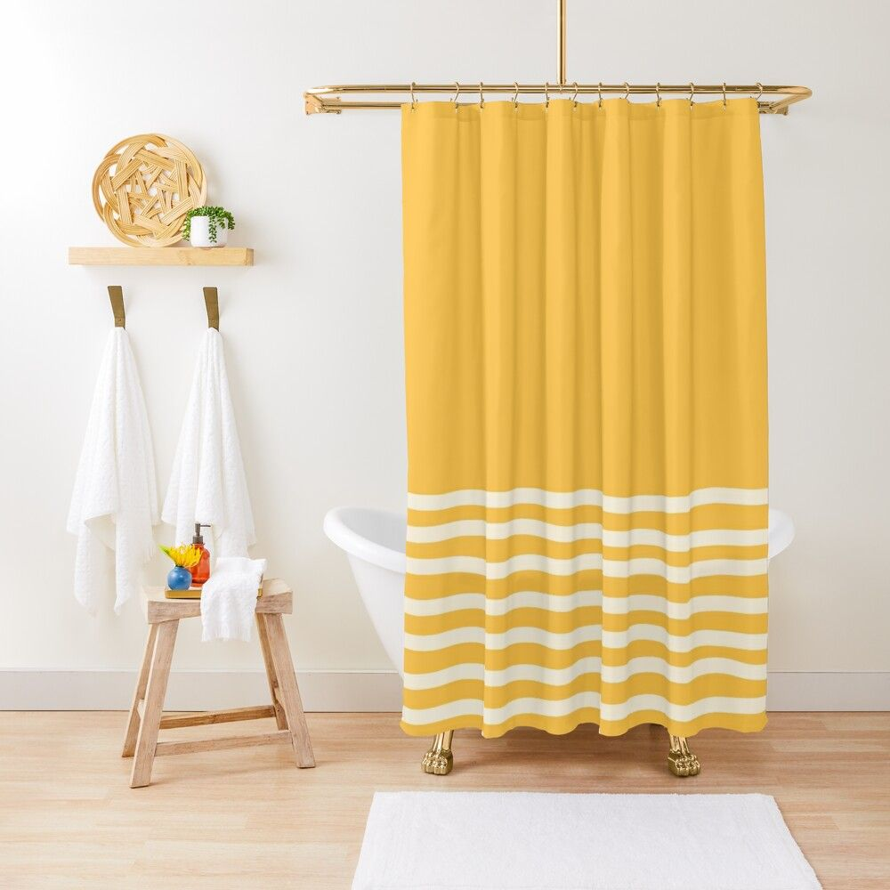 Hand Painted Stripes Minimalist Pattern On Mustard Yellow Solid