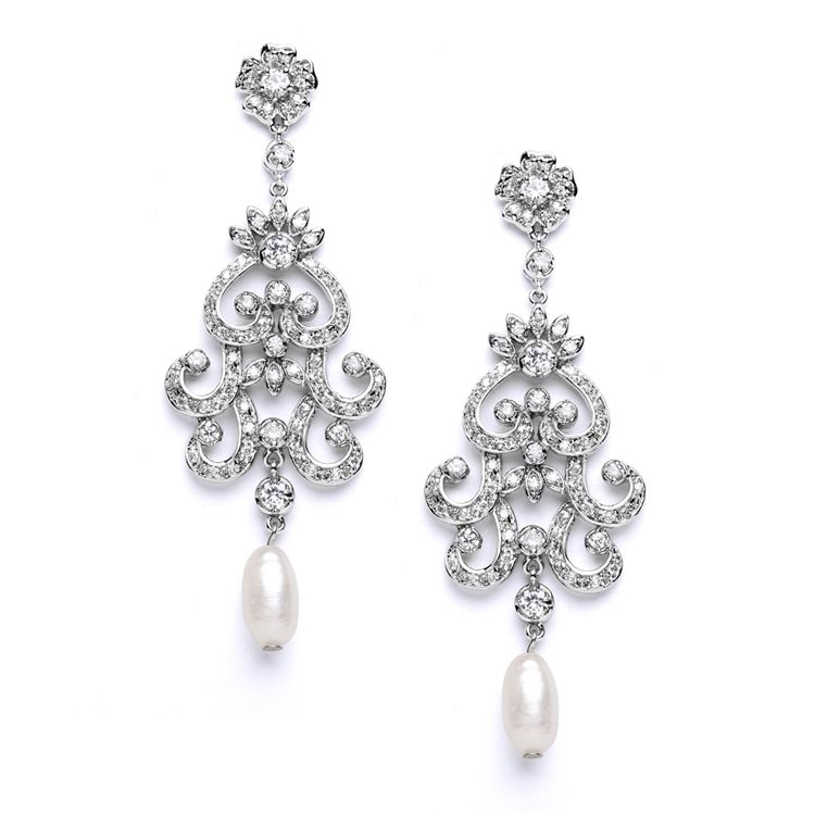 Lovely! Freshwater Pearl Vintage Look Wedding Earrings - on sale now at Affordable Elegance Bridal -
