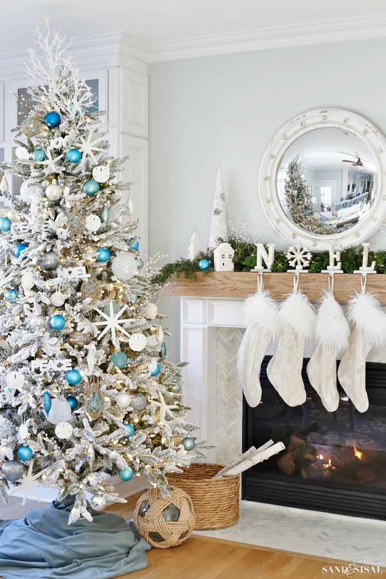 Coastal White Christmas Family Room   Sand and Sisal Blog ...