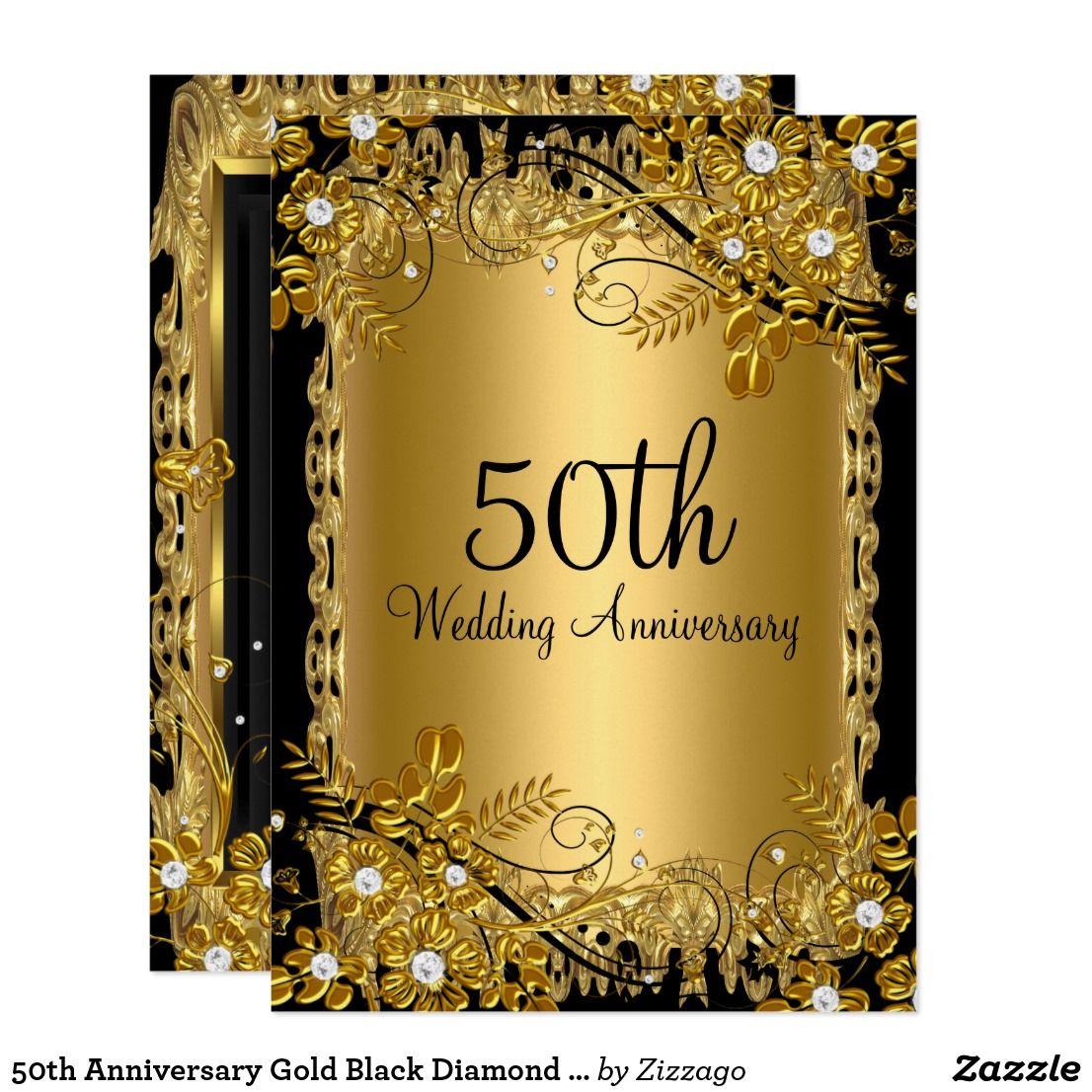 50th Anniversary Gold Black Diamond Floral Swirl Invitation Zazzle Com 50th Anniversary Gold 50th Wedding Anniversary Invitations 50th Anniversary Invitations