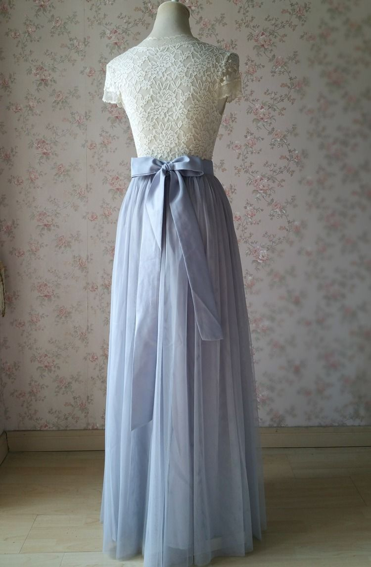 Photo of $59.99 SILVER GRAY Wedding Bridesmaid Tulle Skirt Back Bow Maxi Full Tulle Skirt Outfit