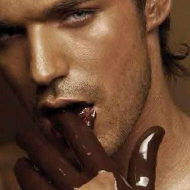Hot guy + chocolate...