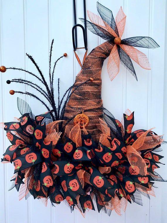 Deco mesh Halloween witch hat wreath, front door decor, Halloween decoration, Fall deco mesh wreath, whimsical wreath, pumpkin wreath, #Deco #Decor #Decoration #door #FALL #front #Halloween #Hat #Mesh #Pumpkin #Whimsical #Witch #Wreath