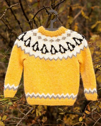 Free Pattern Penguin Jumper Knitted In Lopi Lettlopi Clothing