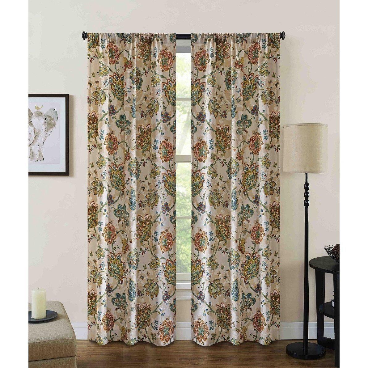Girls Brown Burnt Orange Teal Jubilee Floral Window Curtain 63 Inch Pair  Panel Set Sage Golden