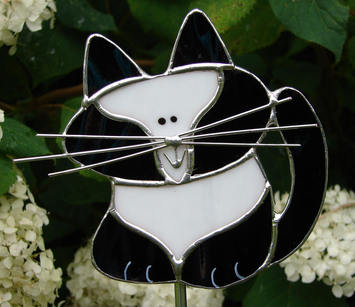 Stained Glass Adorable Tuxedo Cat Garden Stake