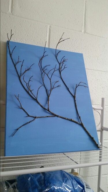 3D Art - tree tree branch glued on a canvas | Paintings