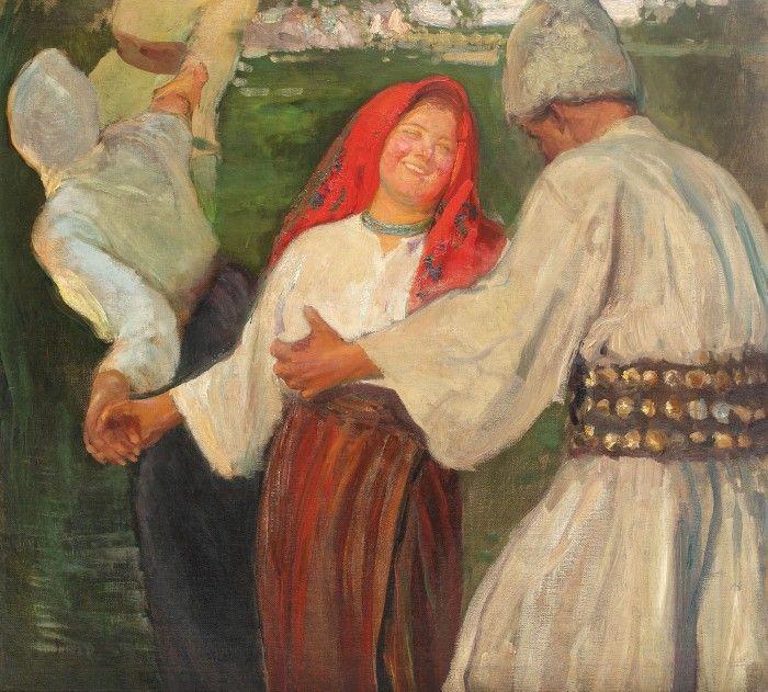 Arthur Verona, Spartul horei, cca. 1911 - ulei pe pânză, 94,5 × 106 cm, semnat stânga jos, cu brun, Verona