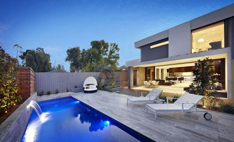 Steinplatten Für Terrasse  Terrassenplatten Modern Pool Sichtschutz  Beleuchtung Hasu