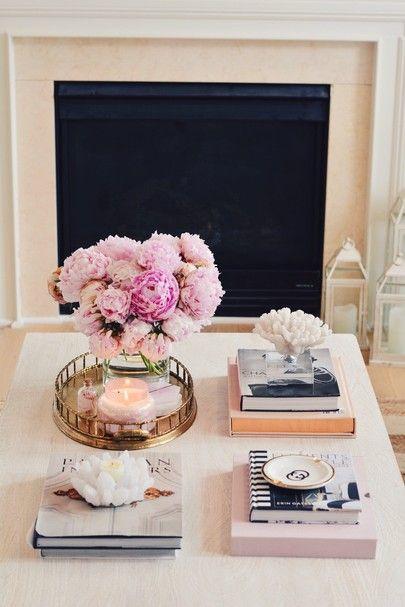 Coffee table details, pink peonies, coffee table ...