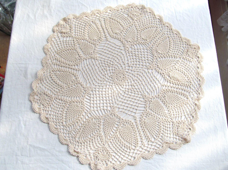 "Vintage Doily 26"" Round Off White Hand Crochet Pretty Dove Bird Design Ecru Antique White by TammyMadeIt on Etsy https://www.etsy.com/listing/230119848/vintage-doily-26-round-off-white-hand"