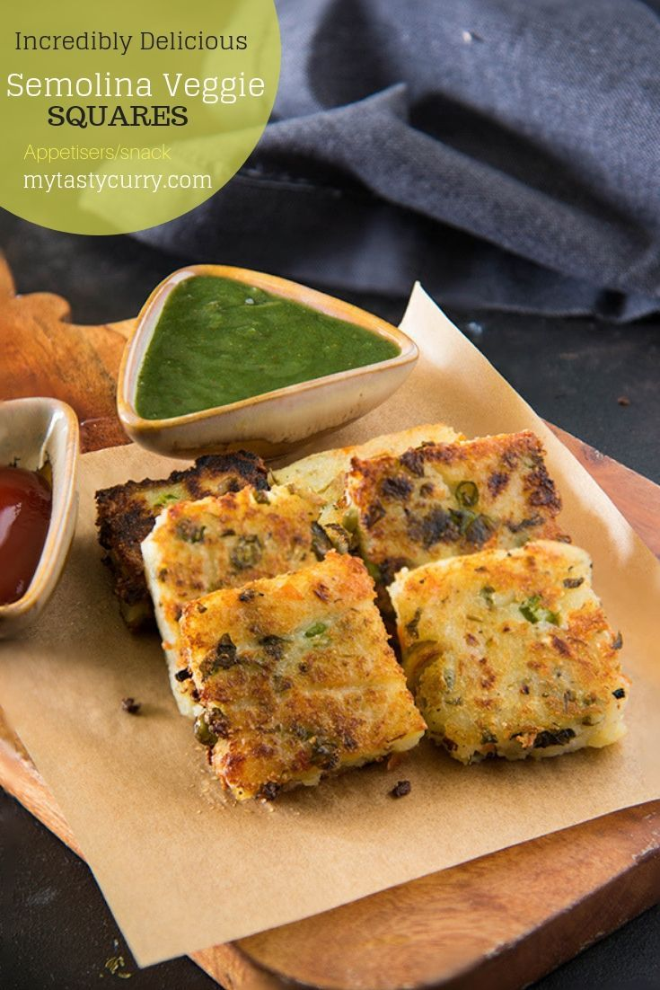 Potato and Semolina Snack squares is a delicious and healthy Indian teatime snack. Made with Indian semolina/sooji, lots of veggies with Potatoes and cheese these  Semolina Potatoes and veggies cutlets are perfect teatime snack or breakfast. As we say in India it makes a perfect teatime snack #snack #appetisers #PotatoRecipes  via @rekhakakkar