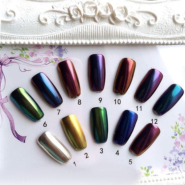 12 Colors Magic Mirror Chrome Effect Metallic Powder Set Nail Art Additive Pigment Silver