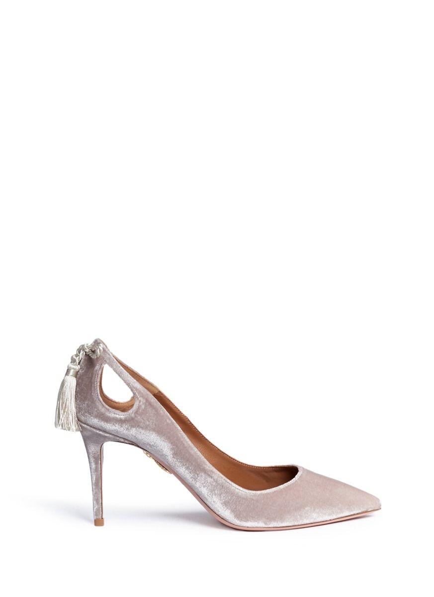 7e776a9cea0a AQUAZZURA  Forever Marilyn 85  tassel bow velvet pumps.  aquazzura  shoes