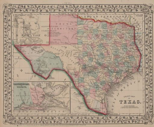 County Map of Texas (1870) :: Texas Collection   Maps | Genealogy