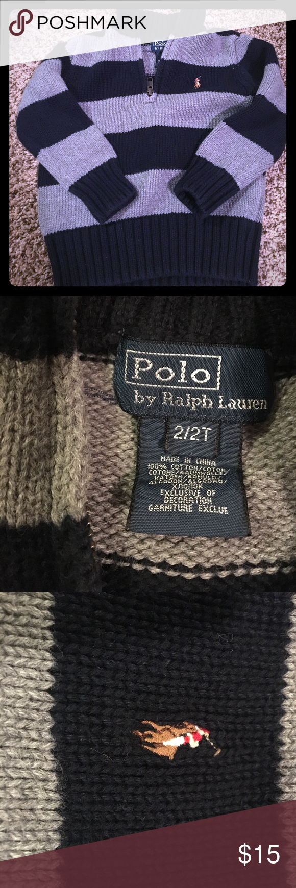Ralph Lauren pullover sweater size 2t Excellent condition- no flaws- worn once- navy and grey sweater pullover Polo by Ralph Lauren Shirts & Tops Sweaters