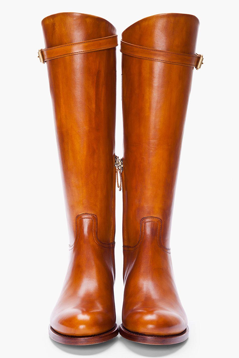 RUPERT SANDERSON Tan Leather Vermont Riding Boots