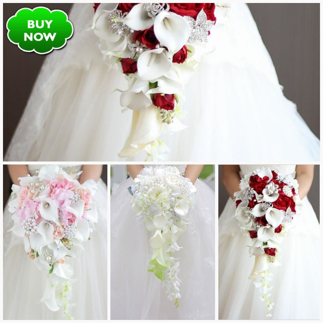 Waterfall Red Wedding Flowers Bridal Bouquets Artificial Pearls In