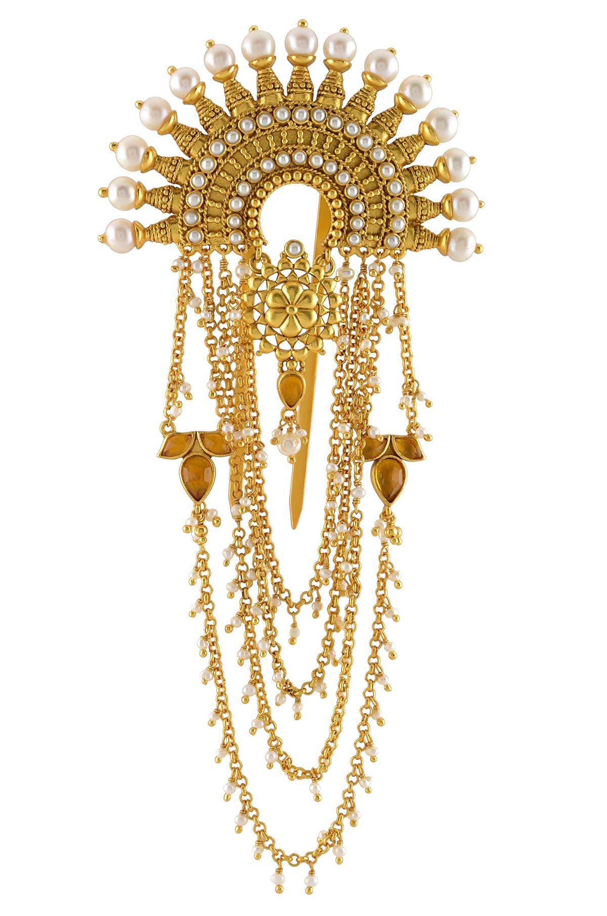 Silver Circular Lotus Pearl Drop Juda Pin   Head chain ...