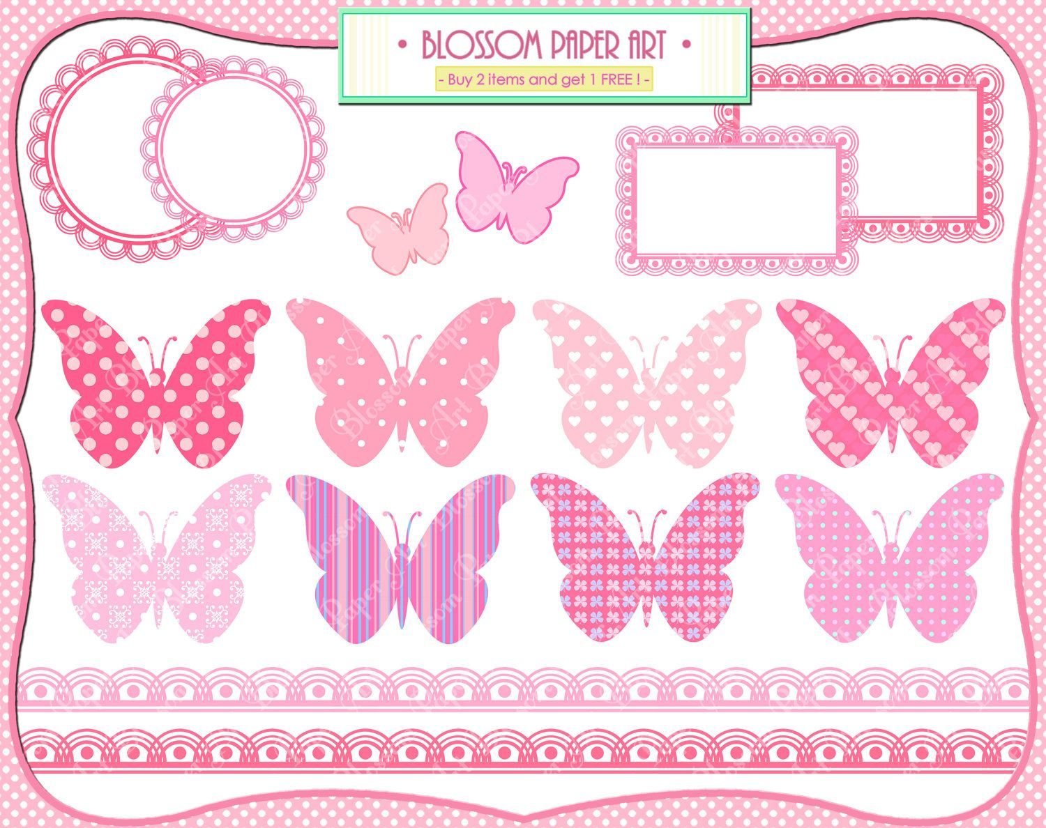 How to scrapbook for baby girl - Baby Girl Butterflies Pink Baby Shower Printables Invitations Labels Borders Scrapbooking 1370