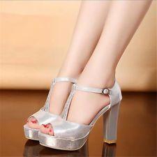 New womens Rhinestone Open Toe platform High Heels sandals party shoes