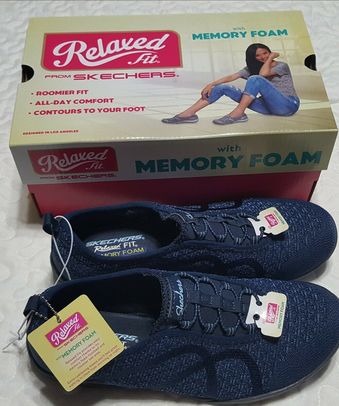 Sketchers Relaxed Fit Memory Foam Shoes Navy Blue Size 8 Sketcher Shoes Ideas Of Sketcher Shoes Sketcher Shoes In 2020 Sketchers Shoes Shoes Memory Foam Shoes