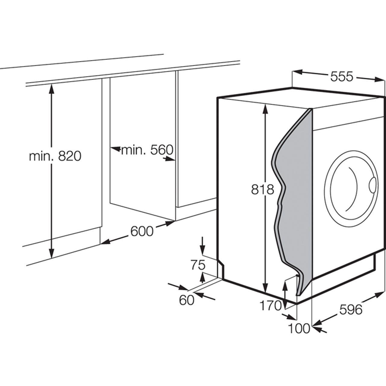 Zanussi Integrated 7kg Washing Machine Zwi71201wa Ao