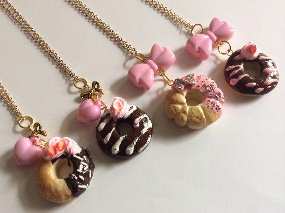 Kawaii Polymer Clay Donut Charm Necklaces, Kawaii Jewelry, Polymer Clay Charms, Doughnut Charms, Sweet Jewelry