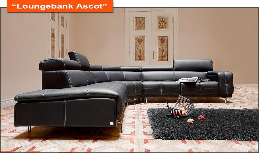 Design Hoekbank Zwart Leer.Hoekbank Zwart Leer Zwarte Loungebank Leefhoek Bankstel