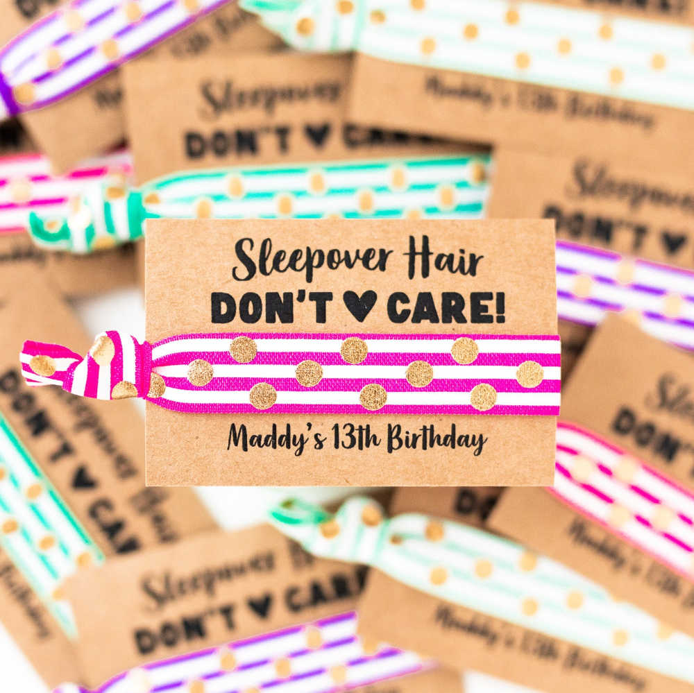 Sleepover Party Hair Tie Favors Personalized Birthday Party Etsy In 2020 Tween Girl Birthday Birthday Party For Teens Slumber Party Birthday