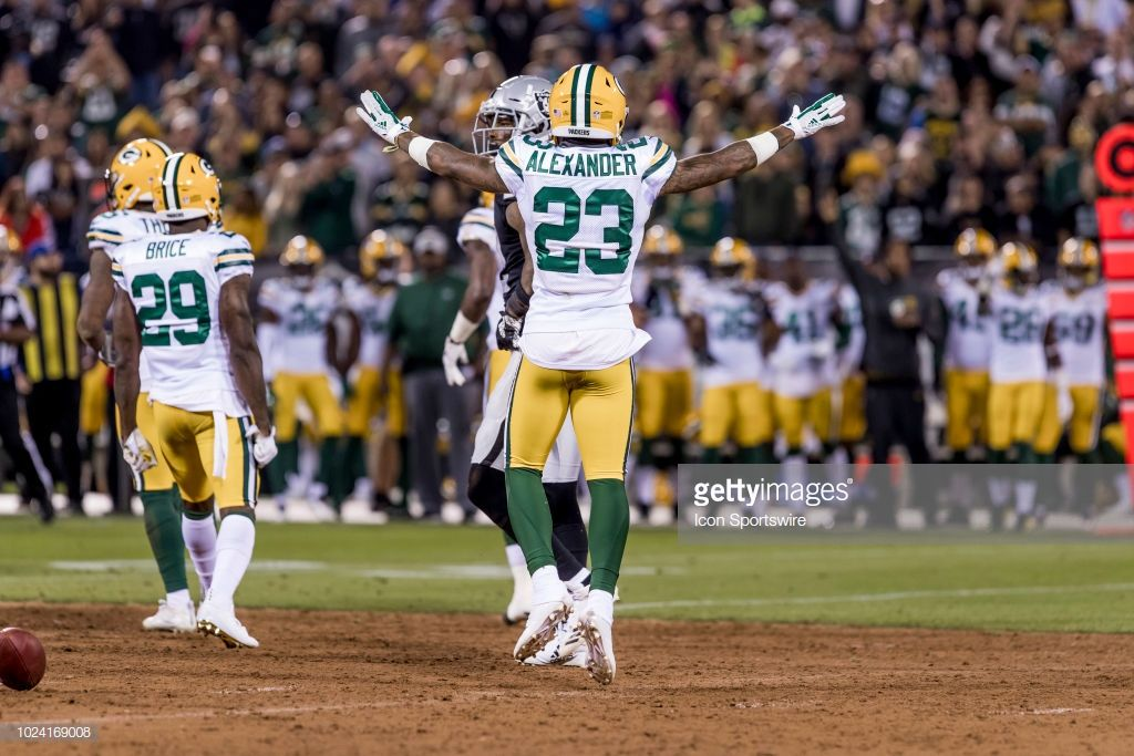 01db01eb7 Green Bay Packers cornerback Jaire Alexander (23) celebrates an incomplete  pass during the NFL